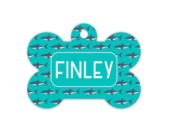Shark Dog Bone Tag for Dogs, Shark Pet Id Tag, Collar Tag for Dogs with Sharks, Name Tag for Pets, Dog Tag for Dogs, Great White Pet ID Tag