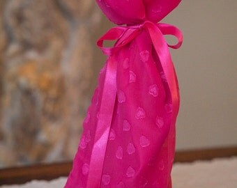 Hot Pink Valentine's/Sweetest Day Wine Bottle Bag/Girlfriend or Bachelorette Gift: Pink with Hearts, Satin Lining & Ribbon
