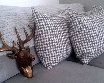 Knitted Cotton Cushion Cover// Durable Grey and White Pillow Case// Geometrical Pattern