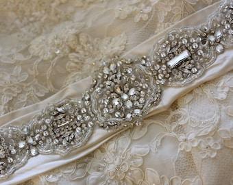 "Custom Wedding Sash / Ivory / Rhinestone Ivory Sash / Custom 104"" / Pleated SASH / Dupioni Silk / Rhinestone Applique / Beauty"