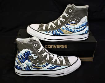 Hand Painted Converse shoes - The Great Wave off Kanagawa (Unisex)