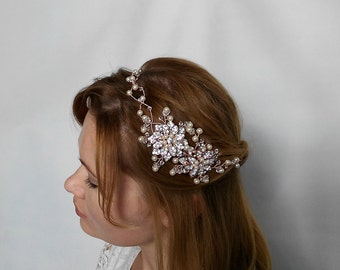 Rose Gold Headband, Rose Gold Head Piece, Rose Gold Tiara, Rose Gold Hair Vine, Rose Gold Accessories