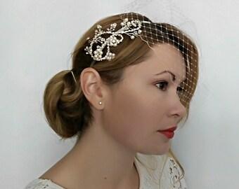 Birdcage Veil Pearl Headband, Bird Cage Veil Pearl Headpiece, Veil Headpiece, Crystal and Pearl Headband, Pearl Head Piece