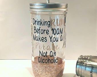 mason jar, tumbler, glitter tumbler, glass tumbler, custom tumbler, mason jar cup, mason jar drinking, cute tumbler, beach tumbler, mason