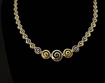necklace greek spiral, golden sterling silver 925, ancient minoan jewelry, bijoux grec, griechischen schmuck, spirale gioielli argento greco