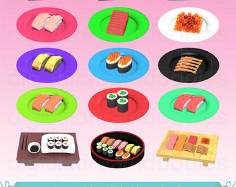 Sushi Clipart, Sushi Clip Art, Sashimi Image, Fish Roe Graphic, Tempura Scrapbook, Tuna Roll PNG, Sushi Platter Digital Download