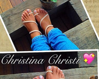 Pearls Sandals, Wedding Sandals, Gladiator Sandals, Leather Sandals, Girls Sandals, Handmade From Genuine Greek Leather.