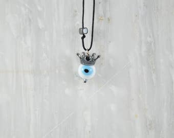 Crowned Evil Eye Necklace, Men's Necklace, Evil Eye Charm, Men's Jewelry, Made in Greece by Christina Christi Jewels.