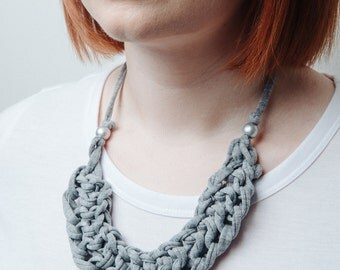 Isobel grey marl knitted statement necklace, grey fabric necklace, bib necklace, knit necklace, tshirt yarn necklace, chunky necklace