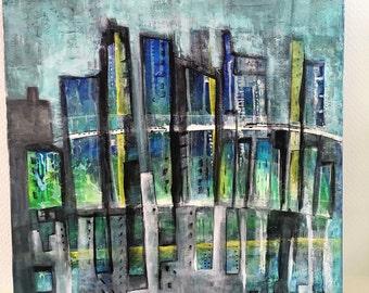 Peinture technique mixte sur toile, jungle urbaine, peinture originale, art contemporain, déco maison, format carré, mégapole, blue vert