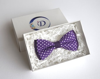 Purple Bow tie, Polka Dot Bow tie, Violet Cotton Bow Tie, Kids Bow Tie, Boys Bow Tie, Bow Tie for Toddler, boys bowties