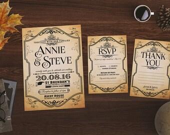 Wedding Invitation | Classic Wedding | Classic Style | DIY | Vintage | Vintage Paper | Vintage Style | Wedding Suite | Printable | Custom