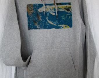 """Unisex Sweatshirt Hoodie grey graphic """"sakana"""""""