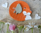Cuddly fox dish, ceramic fox jewelry dish/foxy soap dish/tea bag holder/ candy dish