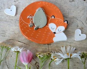 Cuddly fox dish, ceramic fox jewelry dish/foxy soap dish/tea bag holder/ candy dish