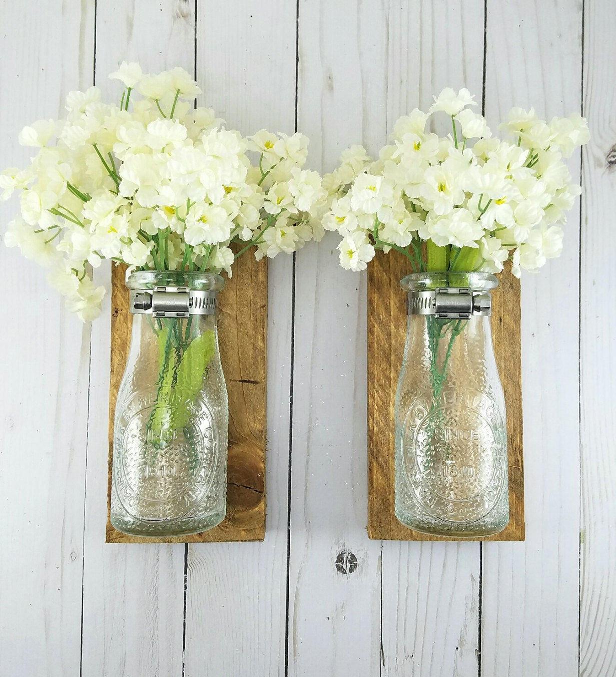 Flowers by post vase - Reclaimed Wood Wall Decor Dairy Bottle Flower Holder Milk Bottle Bud Vase Wall