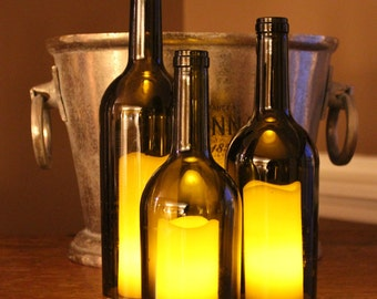Wine Bottle Candle Holder/Shades (Set of 3) - 750ml Recycled Bordeaux Bottles - AMBER