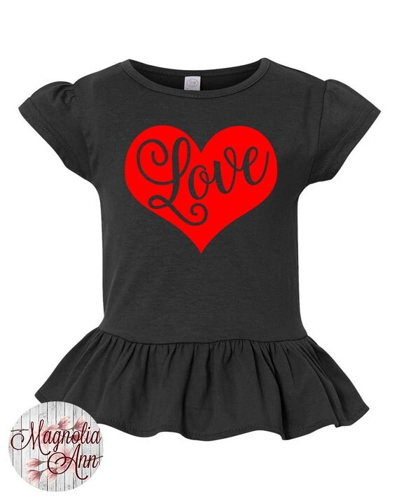 Red Love Heart, Valentines Day, Toddler, Little Girls Ruffle Tee in 4 Colors in Sizes 2T-Girls Large