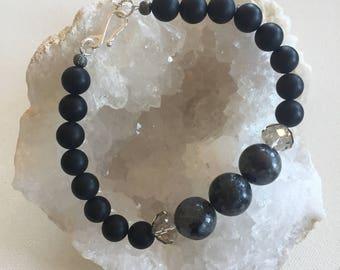 Labradorite and Black Agate Bracelet, Sterling Silver, Boho Chic, Rustic Elegance, Bohemian, Statement Bracelet, Beaded Bracelet