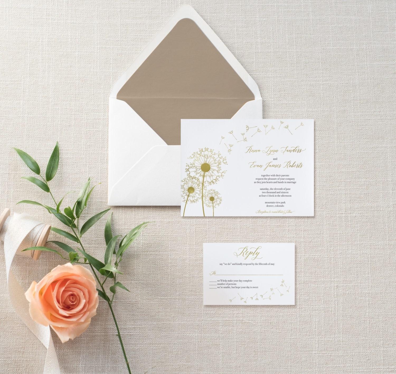 dandelion gold foil wedding invitation set