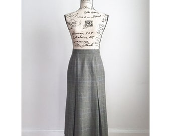 Vintage Long Skirt with Pockets, Houndstooth Skirt, Vintage Pleated Skirt, Vintage Business Skirt, Long Business Skirt