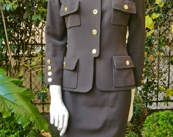 CHANEL 1980 Brown Wool Military Suit