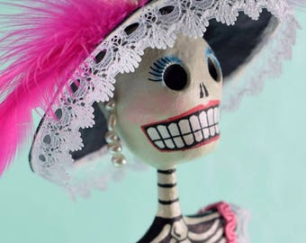 Catrina, Day of the Dead, Hand made paper mache figure