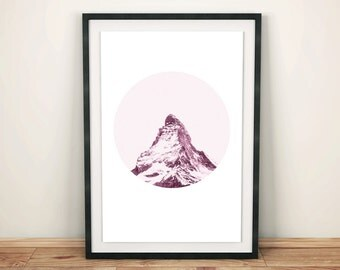 Mountain Peak, Pink Mountain Print, Landscape Art, Printable Wall Art, Photography Print, Mountain Print, Scandinavian Style, Snowy Mountain