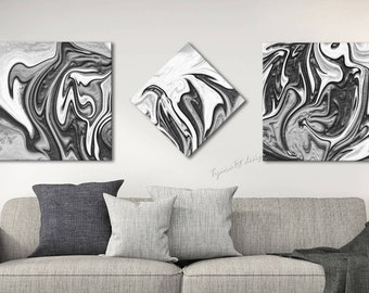 Gray And White Wall Art black white abstract | etsy