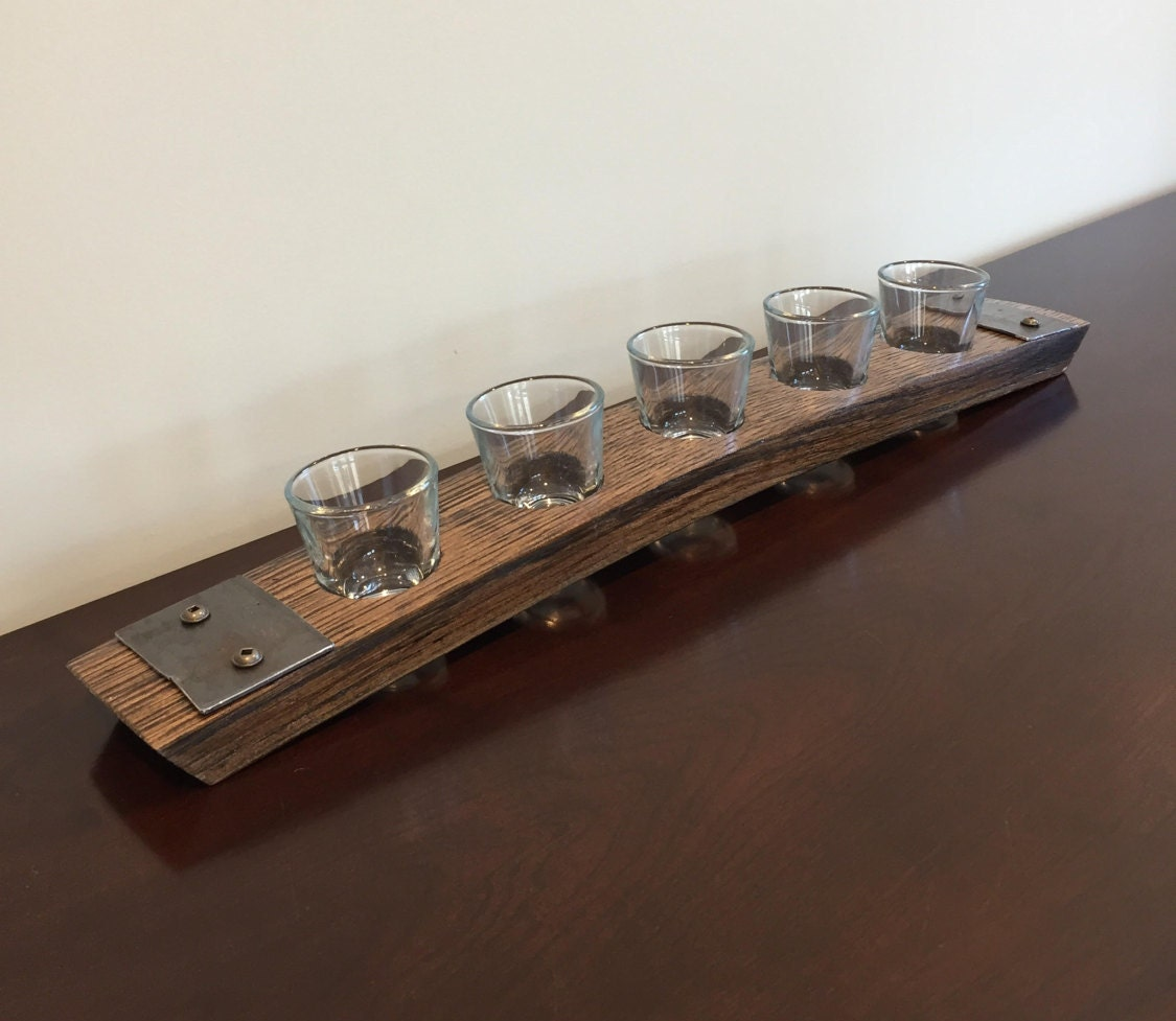 Shot Glass Flight Tray Made From Reclaimed Whiskey Bourbon