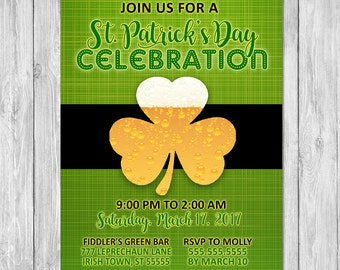 St Patrick's Day Party Invitation - Green Shamrocks - St Patrick's Day Invite - St Patricks Day Printable - St Patricks Day Party Favors