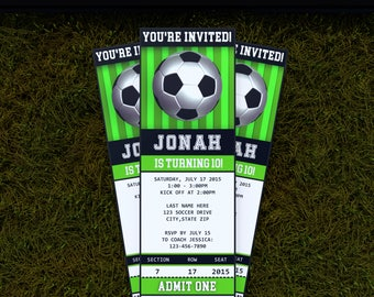 LIMITED TIME! - Soccer Invitations - Soccer Ticket Invitation -  Soccer Birthday Invitation - Instant Download - Edit with Adobe Reader NOW!