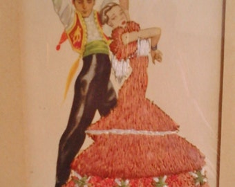 Picture postcard embroidered vintage collection framed Spain flamenco dancers