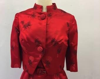 1960s dress & jacket set * Vintage silk satin * Spider chrysanthemums on red