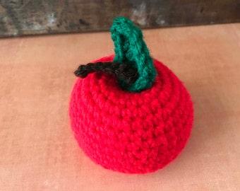 red apple amigurumi, fruit play food, apple play food, fruit amigurumi food, fruit kitchen decor, red apple plush, red apple play food