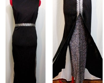 60s Black and Silver Dress with Metallic Silver Pants
