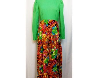 60s Dress Green Bodice with Psychedelic Floral Maxi Skirt
