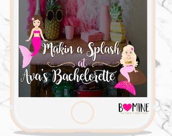 MERMAID SNAPCHAT GEOFILTER, Custom Bachelorette Snapchat Filter, Mermaid Party, Last Splash, Makin a Splash, Tail to Veil Bachelorette Party
