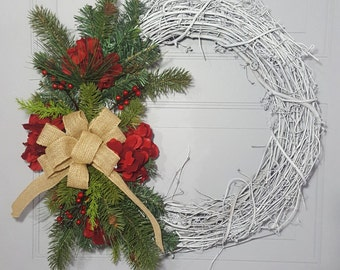 White Grapevine Wreath- Rustic Christmas Wreath - Christmas Wreath - Traditional Christmas Wreath -  White Christmas Wreath - Winter Wreath
