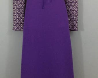 1970s SPINNEY vintage purple crepe silver lace maxi dress uk 10/12