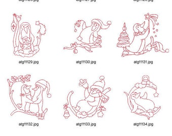 Little Redwork Christmas Penguins ( 10 Machine Embroidery Designs from ATW ) XYZ17C