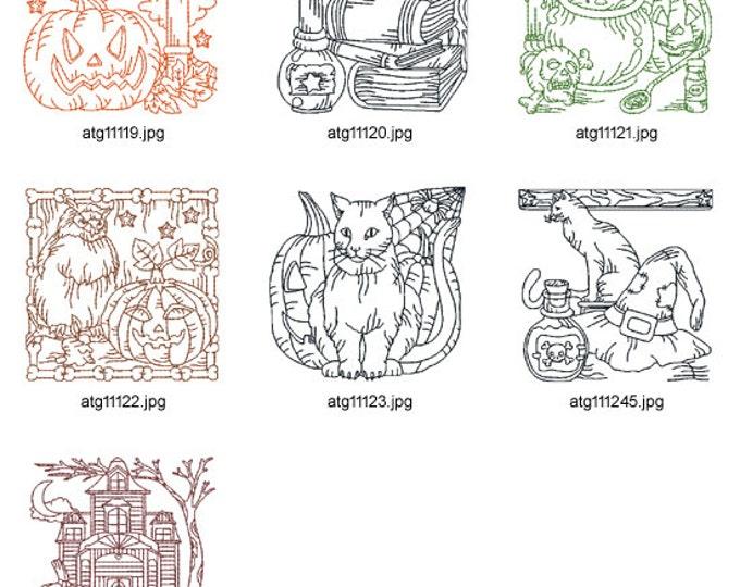 Halloween-Redwork  ( 7 Machine Embroidery Designs from ATW ) XYZ17B