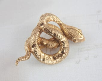 Vintage Gold Plated Snake Brooch, Coiled Snake Brooch, Vintage Serpent Brooch, Gold Plated Reptile Brooch