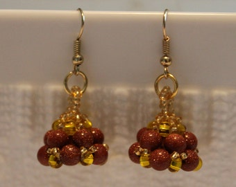 Beautiful gold stone and glass beaded earrings; hanmade, beadweaving, dangle & drop, brown, golden, shiny, cute, party wear, casual wear