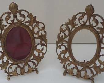 Pair Vintage Gilt Metal Photo Frames Victorian Picture Frames Rococo