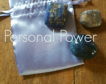 Gemstones For Personal Power and Spirituality, with French Blue Satin Pouch