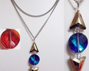 Swarovski arrow triangle pendant,  bermuda blue or red magma crystal, large crystals, surgical steel chain,  modern arrow triangle necklace