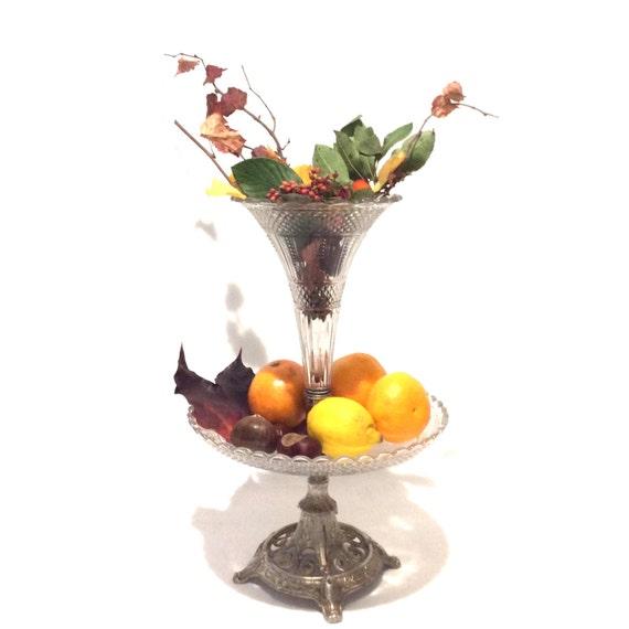 Centre de table ancienne coupe en verre sur pied - Coupe en verre sur pied centre de table ...