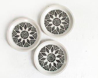vintage ceramic plates / 70s dinner plates with geometric mandala pattern / set of 3