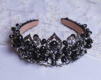 Black crystal crown Adult Beaded headband Bridal crown Baroque style Swarovski Black tiara Gift for her Wedding boho Dolce Fashion crown